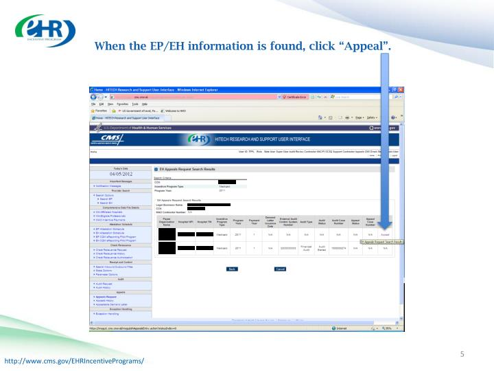 """When the EP/EH information is found, click """"Appeal""""."""