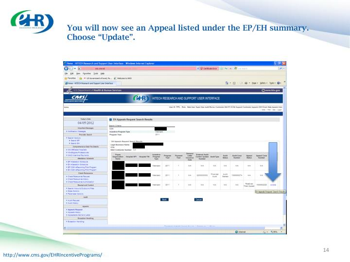 """You will now see an Appeal listed under the EP/EH summary. Choose """"Update""""."""
