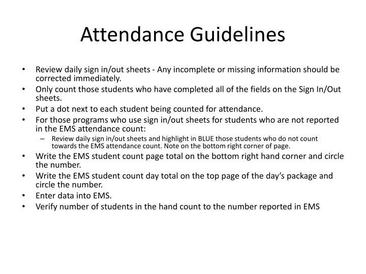 Attendance Guidelines