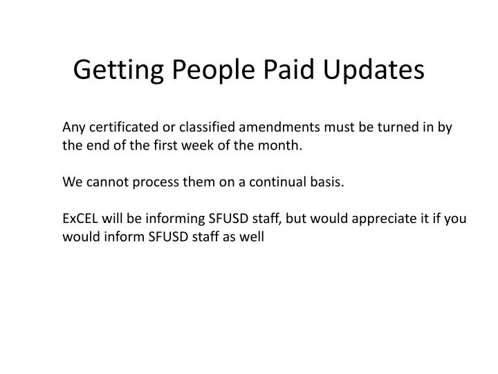 Getting People Paid Updates