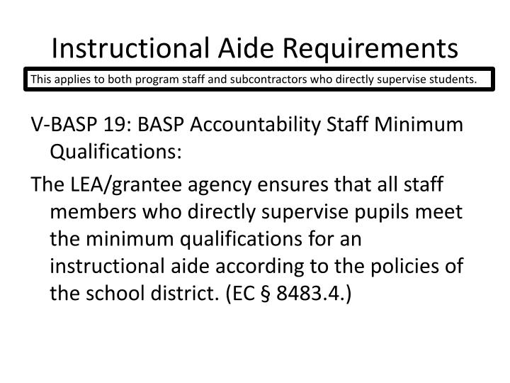 Instructional Aide Requirements