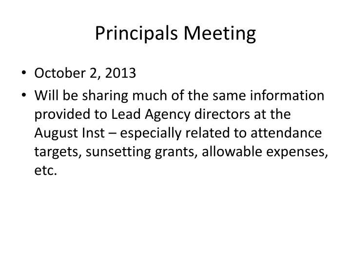 Principals Meeting