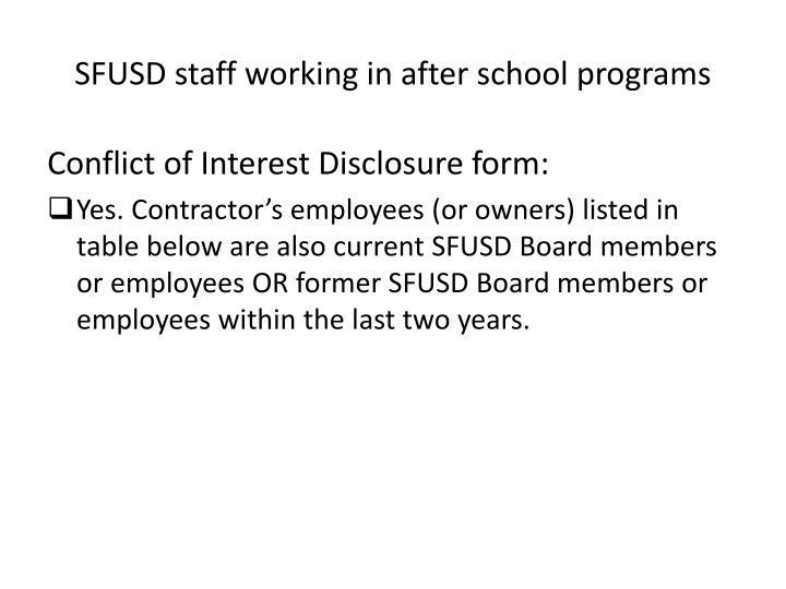 SFUSD staff working in after school programs