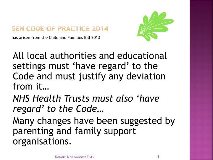 Sen code of practice 2014