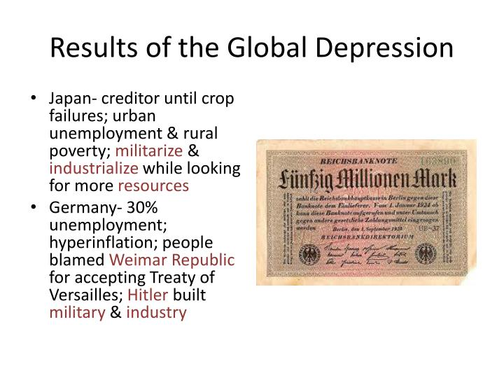 Results of the Global Depression