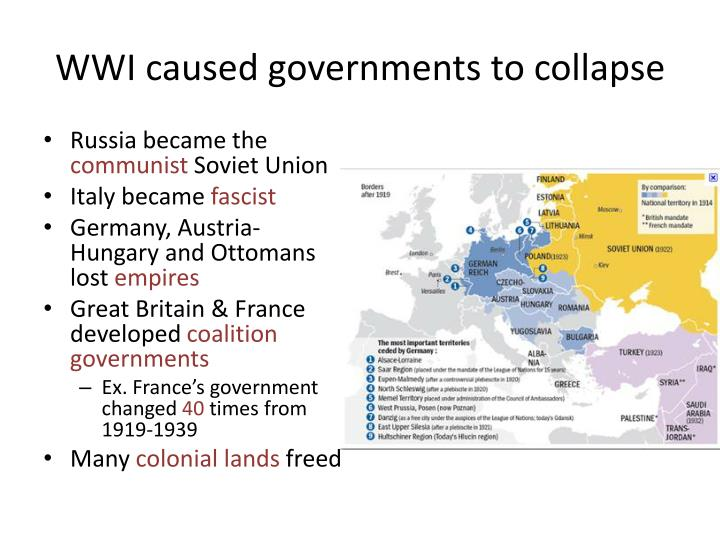 Wwi caused governments to collapse