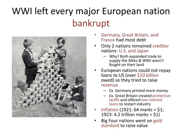 WWI left every major European nation