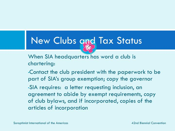 New Clubs and Tax Status