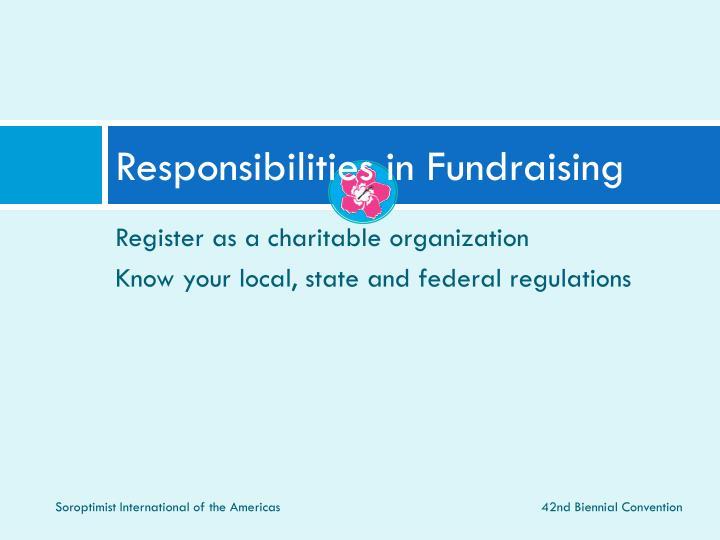 Responsibilities in Fundraising
