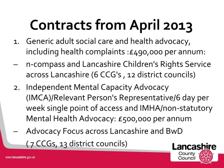 Contracts from April 2013