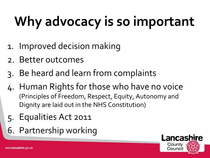 Why advocacy is so important