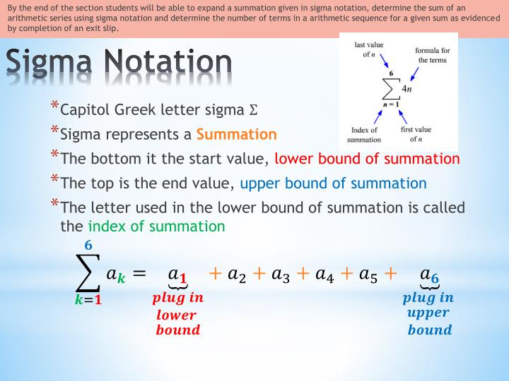 Printables Sigma Notation Worksheet ppt 12 5 sigma notation and the nth term powerpoint presentation by end of section students will be able to expand a summation given in