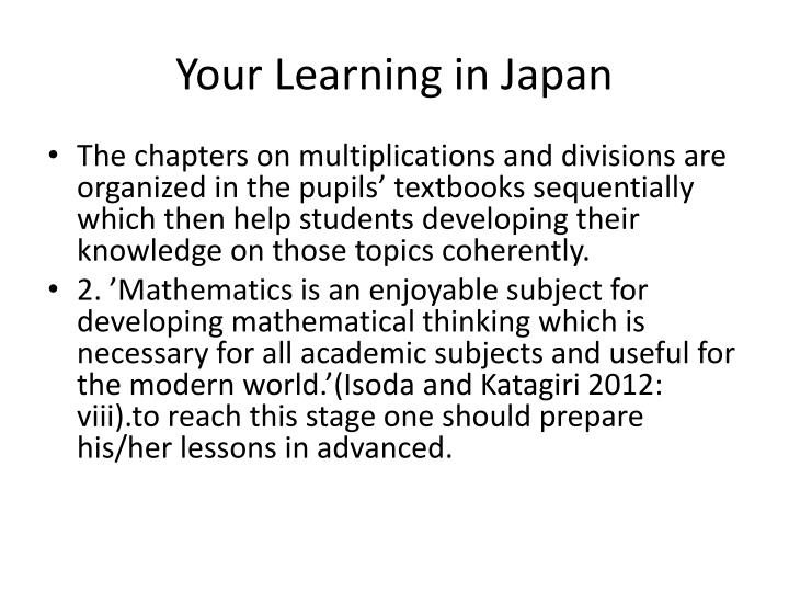 Your Learning in Japan