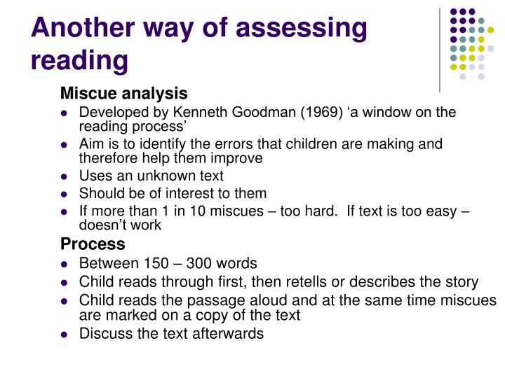 Another way of assessing reading