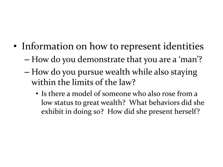 Information on how to represent identities