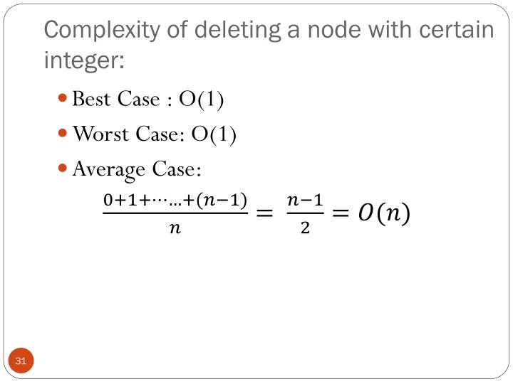 Complexity of deleting