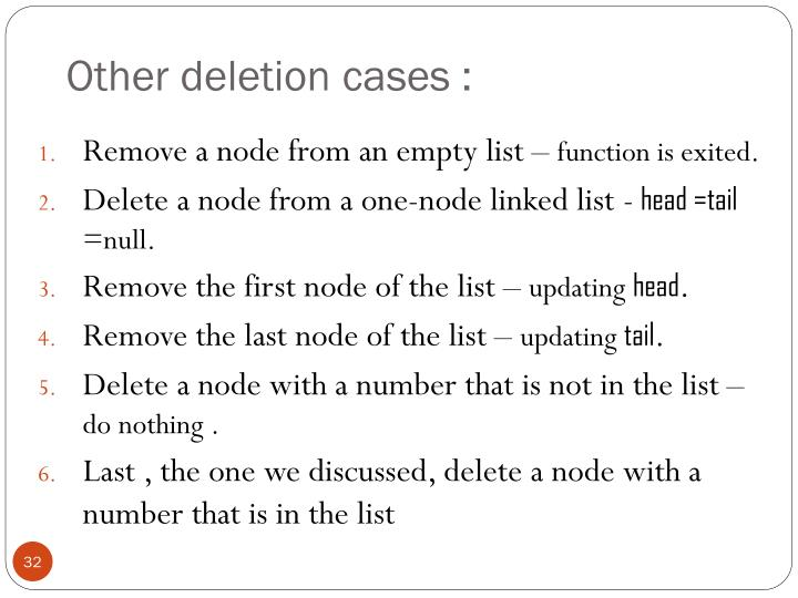Other deletion cases :