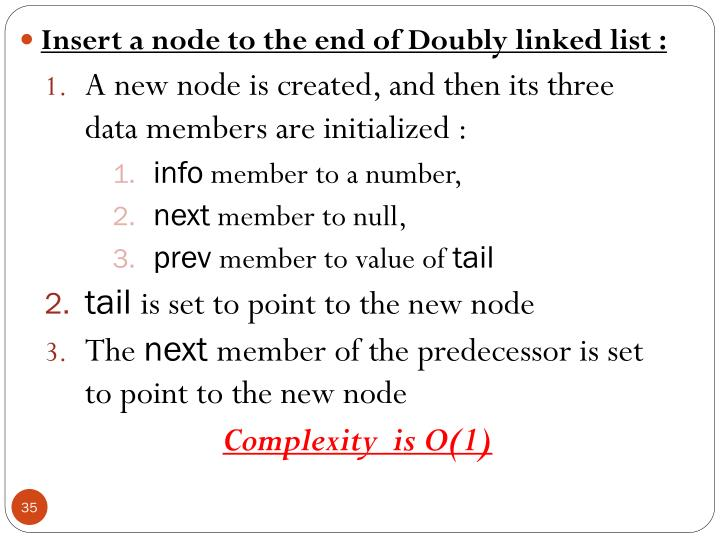 Insert a node to the end of Doubly linked list :