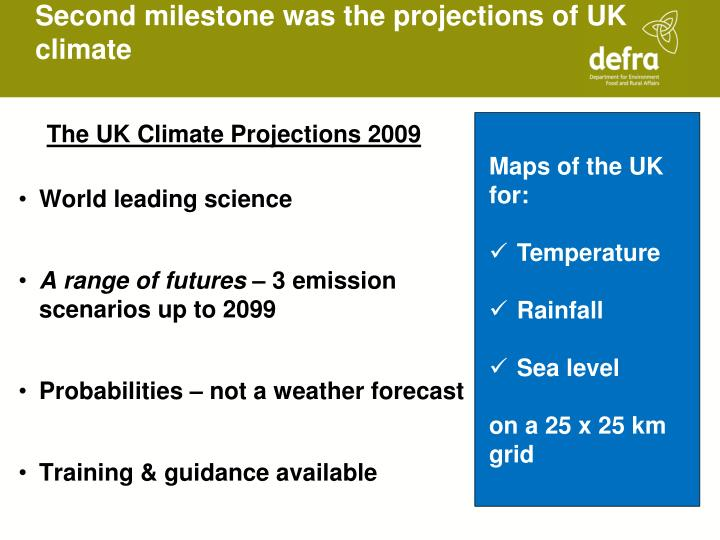 Second milestone was the projections of UK climate