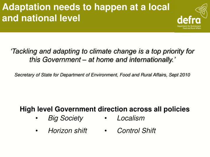 Adaptation needs to happen at a local and national level