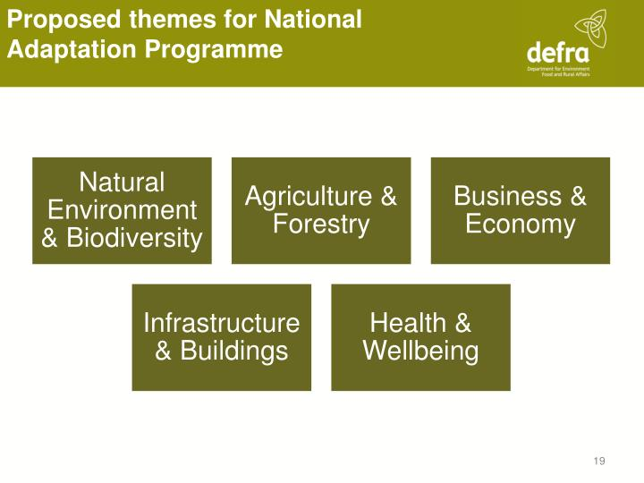 Proposed themes for National Adaptation Programme