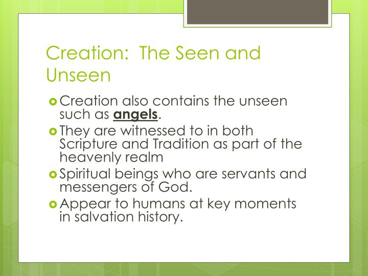Creation:  The Seen and Unseen