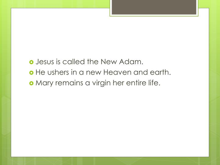 Jesus is called the New Adam.