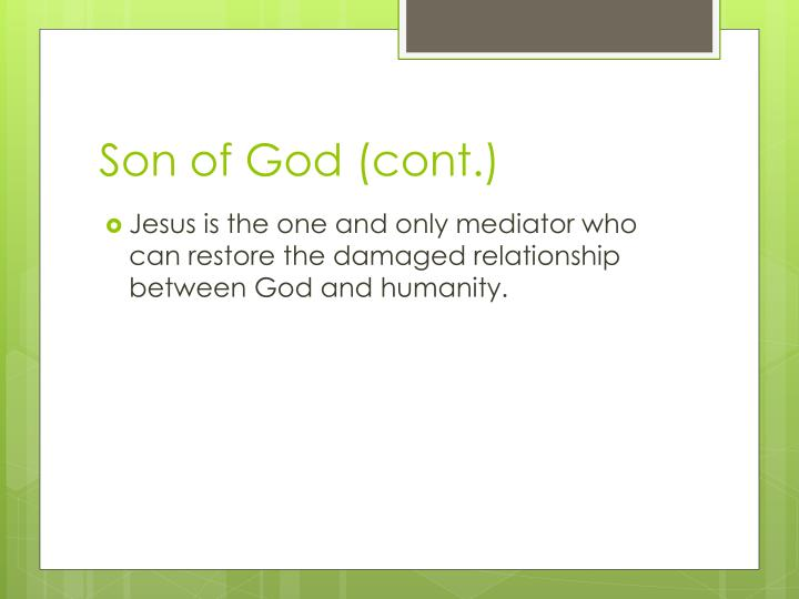 Son of God (cont.)