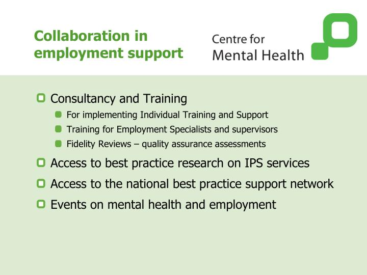 Collaboration in employment support