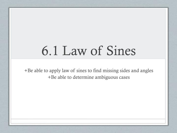 6.1 Law of