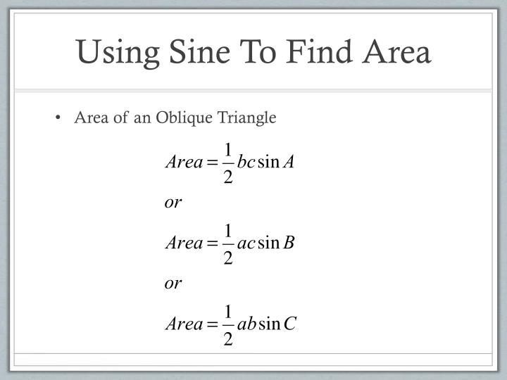 Using Sine To Find Area