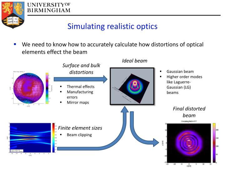 Simulating realistic optics