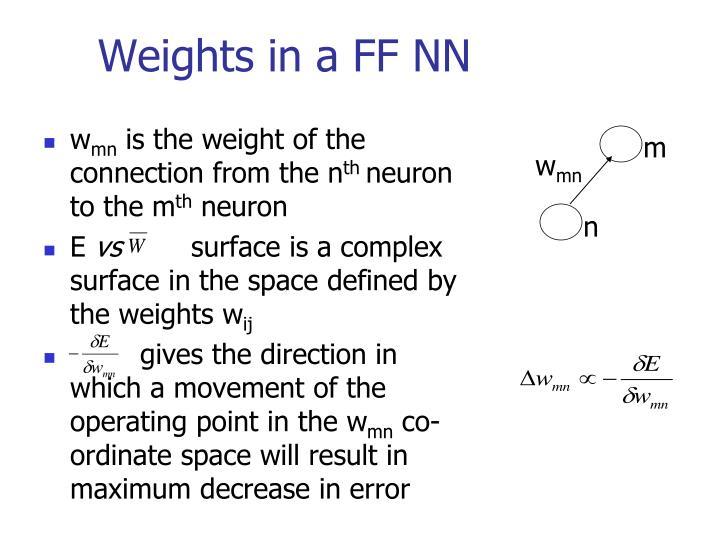 Weights in a FF NN