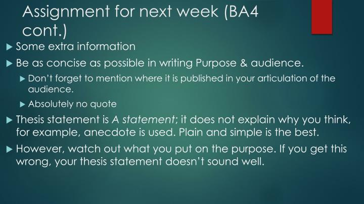Assignment for next week (BA4 cont.)