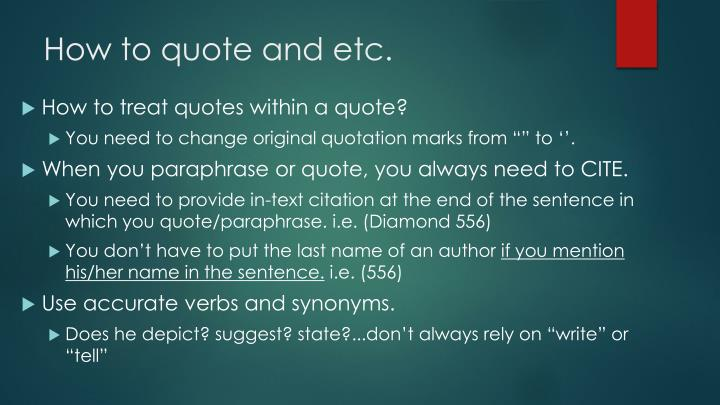 How to quote and etc.
