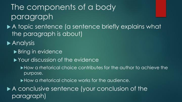 The components of a body paragraph