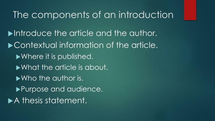 The components of an introduction