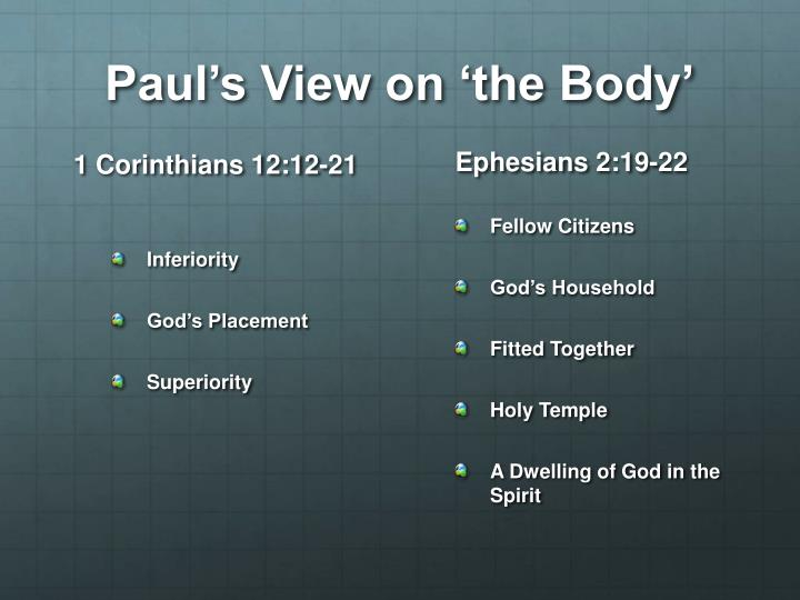 Paul's View on 'the Body'