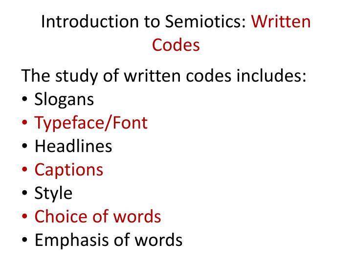 Introduction to Semiotics: