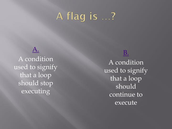 A flag is …?