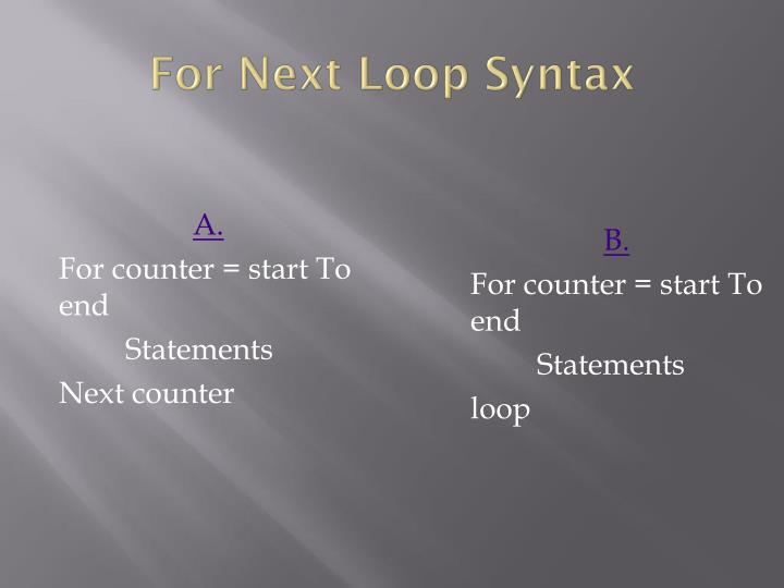 For Next Loop Syntax