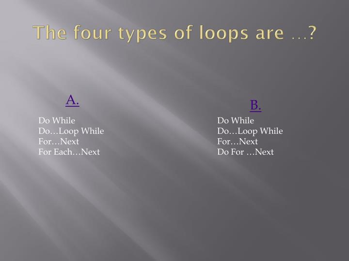 The four types of loops are …?