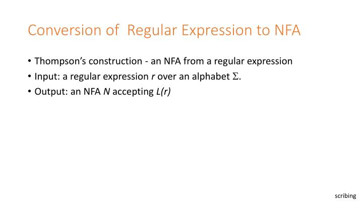 Conversion of  Regular Expression to NFA