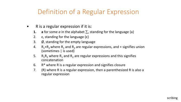 Definition of a Regular Expression