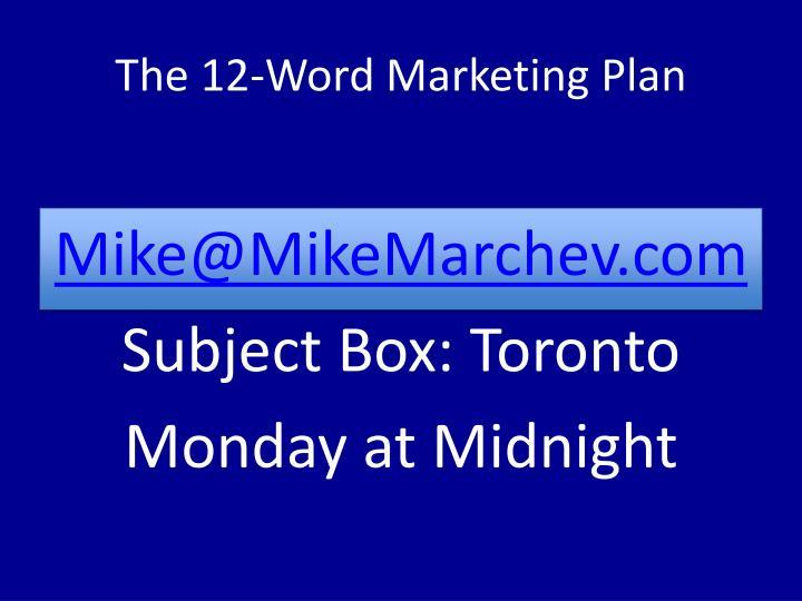 The 12-Word Marketing Plan
