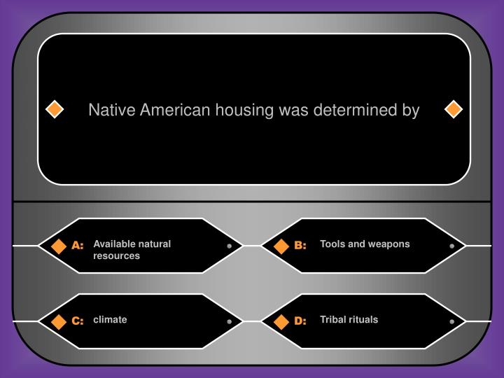 Native American housing was determined by
