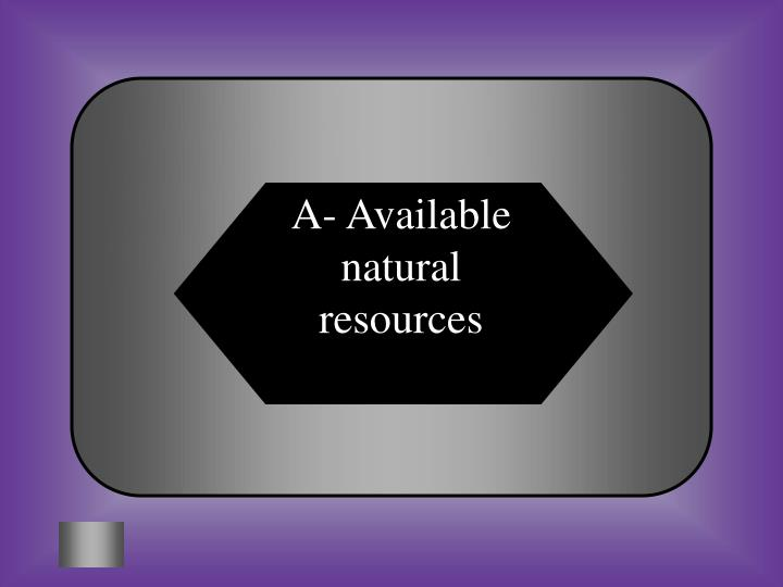 A- Available natural resources