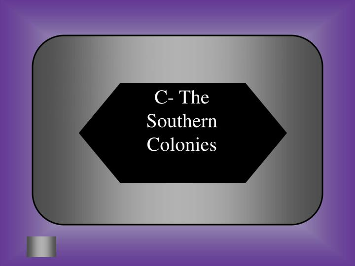 C- The Southern Colonies