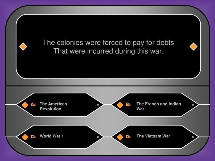 The colonies were forced to pay for debts