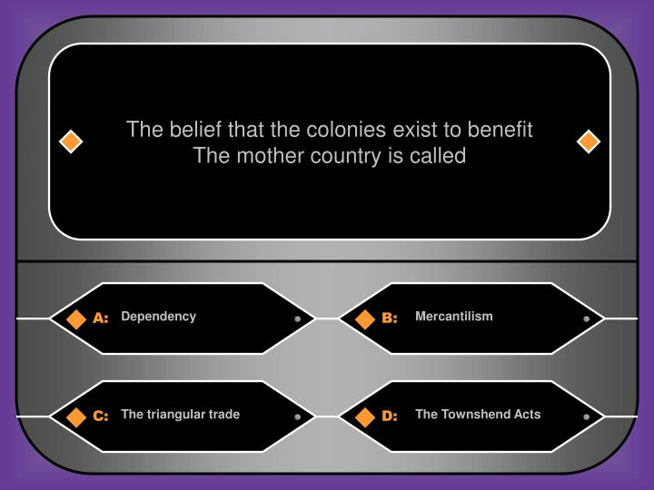 The belief that the colonies exist to benefit